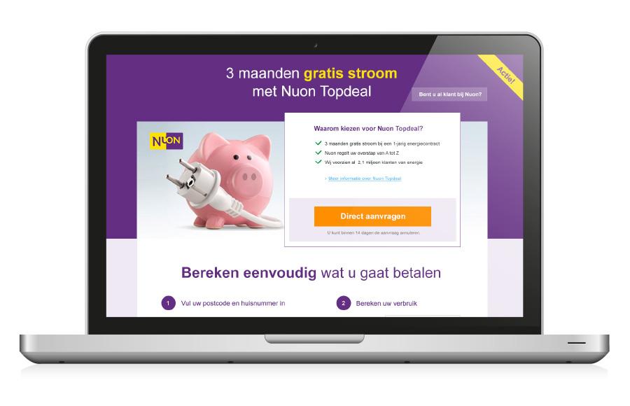 UI design Landingpage voor het product Topdeal