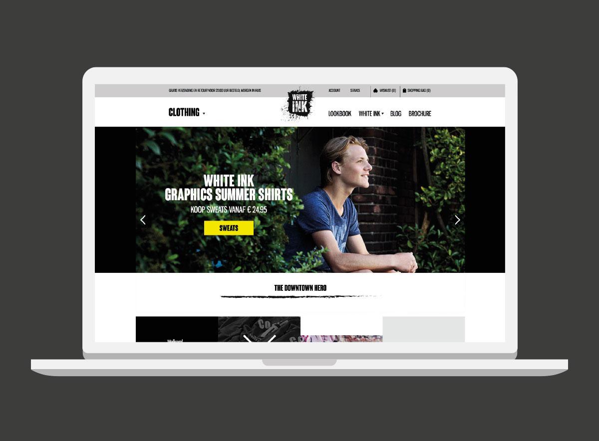 user interface design white-ink ecommerce website